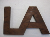 Wood Letter LA Unique Vintage Monogram Arts and Crafts