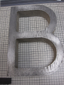 Cast Aluminum Metal Letter B Blocked Font 8 7/8 inch L 3/4 thick